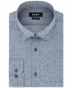 DKNY Men Dress Shirt Blue Size 15 1/2 Abstract Jacquard Slim Fit Stretch $85 099