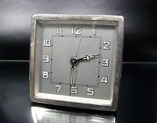 ART DECO Tisch Uhr Wecker French alarm table clock nickel plated France ca 1930