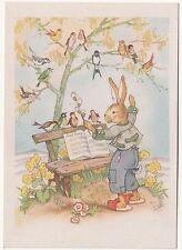 Ak Osterhase musiziert mit Vögeln Charlotte Baron RAA um 1950 ! (A643