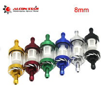 8mm Inline Motorcycle Glass Fuel Filter Gas Petrol Filter Reusable