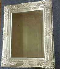 French Baroque Antique Silver Wall Mirror with Wide Ornate Frame