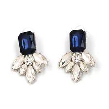 Gorgeous Sapphire Blue White Rhinestone Crystal Stud Statement Earrings