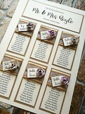 A3 vintage multi rose design wedding table plan with kraft and hessian