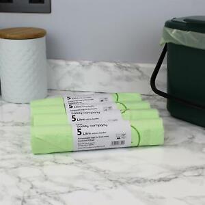 5 Litre x 200 Compostable Tie Handle Caddy Liners-Food Waste Bin Bags-EN13232