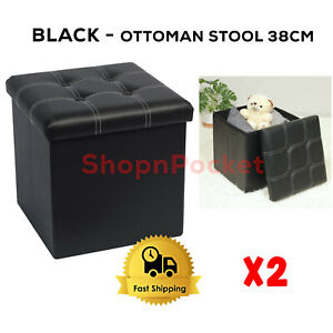 2 x BLACK Folding Ottoman Storage Box Pouffe Seat Stool Home Chair Foot Bench