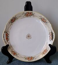 """Antique ~ Hand Painted Nippon ~ 9¼"""" Porcelain CAKE PLATE with Handles ~ White"""