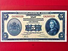 1943 NETHERLANDS INDIES 5 GULDEN OLD BANKNOTE @ AU