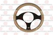"Protector Tan Chrome Steering Wheel Cover 14"" Inch Universal Fit Accesories New"