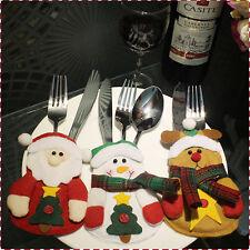 Weihnachten Weihnachtsmann Schneemann Rentier Deko Set für Besteck