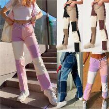 New Womens Color Block Bottoms Casual Trousers Vintage Pencil Denim Jeans Pants