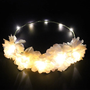 Light- Up White Flower Head Garland Festival Party Wedding Garland