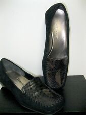 Vintage Enzo Angiolini Reptile Black Suede Leather Loafers Shoes Women's size 6