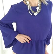 CUE  WOMENS BLOUSE VIOLET PEPLUM ZIP BACK Polyester 3/4 Slv MADE IN AU SZ 14