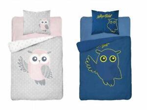 Girls Duvet Cover Pillowcase Set Bedding Set Owl Glow In The Dark 160x200cm