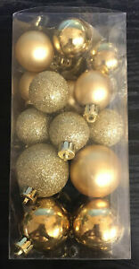 260 x MINI GOLD BAUBLES CHRISTMAS TREE DECORATIONS WREATH DIY CRAFT JOBLOT NEW