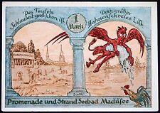"MADÜSEE ""Devil vs. Rooster"" 1921 rare 1 Mk German Notgeld now Miedwiecko Poland"