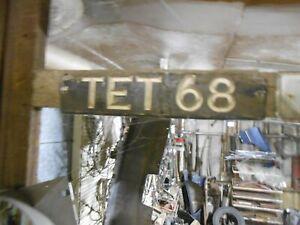 VINTAGE OLD CAR NUMBER PLATE TET 68