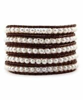Chan Luu White Pearl Wrap Bracelet on Brown Leather