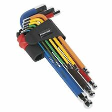 Sealey AK7190 Ball-End Hex Key Set 9pc Colour-Coded Long Metric Rubber Coating