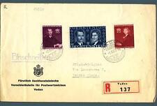 LIECHTENSTEIN - 1943 – Matrimonio del Principe regnante serie su raccomandata -