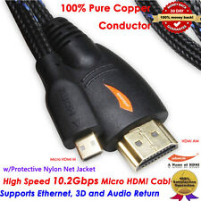 Premium Micro HDMI to HDMI Cable with Ethernet 6 Feet - 3D and 4K Resolution