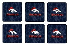 "DENVER BRONCOS COASTERS 1/4"" BAR & BEER SET OF 6"