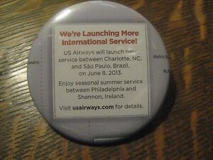 USAirways US Airways Airlines New Service USA Sao Paulo Shannon Button Pin $20
