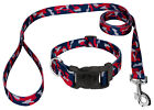 Country Brook Petz® Deluxe Navy Blue and Red Camo Dog Collar and Leash