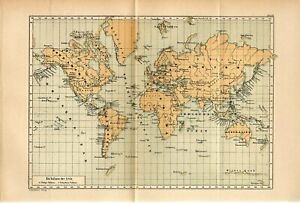 1885 WORLD VOLCANO VOLCANOES Antique Fold Out Map