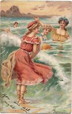 Edwardian/Victorian Swimsuit Beauties Fashion Girls Ocean PM 1906 Art Postcard