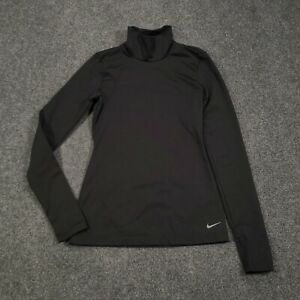 Nike Golf Womens XS Dri-Fit Solid Turtleneck Long Sleeves Activewear Black Top