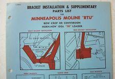 Original New Idea Horn Minneapolis Moline Rtu Loader Bracket Install Parts List