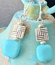 Etched Silver  & Turquoise Dangle Earrings.