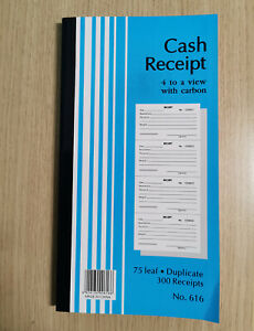 Olympic 616 Cash Receipt Book 4 to a View With Carbon 75 Leaf Duplicate 300 Rece