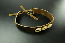 ADJUSTABLE LADIES  SUEDE BROWN CHOKER NECKLACE,CUTE  SHELL DETAIL (ZX1)