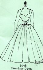 1:24 HALF scale Emanjay Dollhouse Doll Clothes pattern #2148 1948 Evening Gown