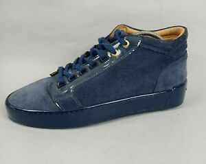 Android Homme Mens Navy Blue Suede Leather Trainers UK 8 EUR 42 Mid Top Sneaker