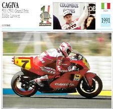 Carte Fiche Moto ITALIE CAGIVA 500 C591 Grand Prix Eddie Lawson 1991