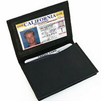 Black Men's Leather Bifold Window ID Thin Credit Cards Holder Thin Wallet
