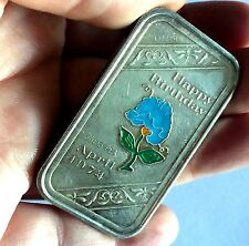 A Ceeco Silver Happy Birthday Sweet Pea Enamel .999 Fine Silver Bar April