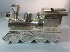 """Silver Tone Polished Train Engine Locomotive Piggy Bank Coin PERSONALIZED """"KYAN"""""""