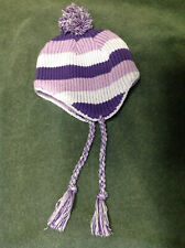 Gap Girls Purple Stripe fleece lined Hat Size 4-6