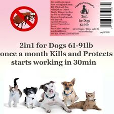 2in1 instant Flea Killer and Control for large Dogs 61-91lb All in one 6 months