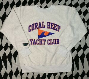 Vintage Wave One Premium Cotton Coral Reef Yacth Club Crewneck Sweatshirt Large
