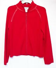 Pendleton Women's Red Wool Leather Trim Full Zip Casual Jacket Size Large