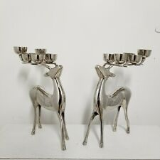 "PAIR Pottery Barn Reindeer Candelabra Candle Holders Silver Metal 12"" Christmas"