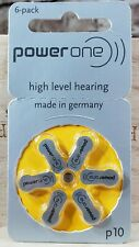 6-pack Power One Hearing Aid Batteries Size 10 P10 PR70 Super Fresh Expire 2021