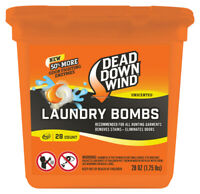 Dead Down Wind Laundry Bombs – Unscented, 28 Count, Odor Elimination for Hunting