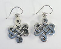 """925 sterling silver dangle earrings with Celtic knot design 1 3/4"""" high"""