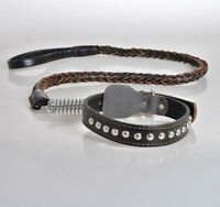 Genuine Cow Leather Heavy Duty Dog Collar + Leash Metal Spring Absorber